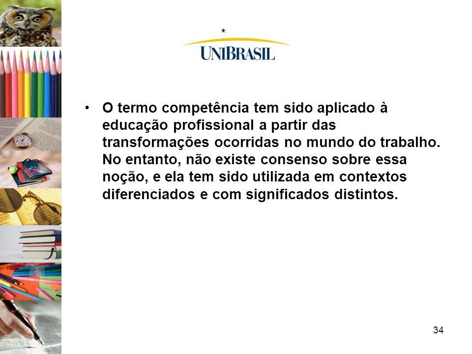 O termo competência tem sido aplicado à educação profissional a partir das transformações ocorridas no mundo do trabalho.