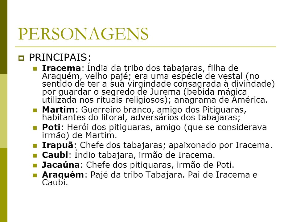 PERSONAGENS PRINCIPAIS: