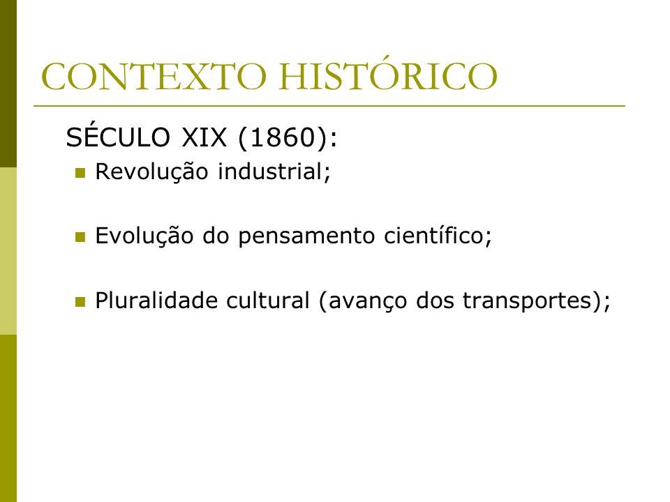 CONTEXTO HISTÓRICO SÉCULO XIX (1860): Revolução industrial;