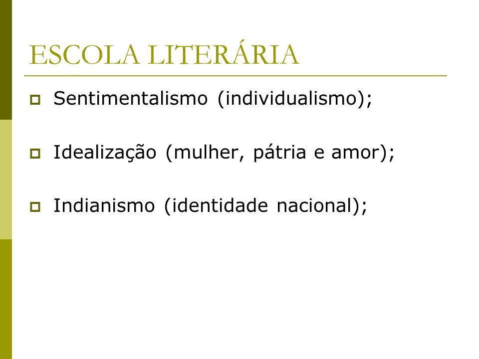 ESCOLA LITERÁRIA Sentimentalismo (individualismo);