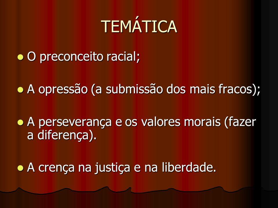 TEMÁTICA O preconceito racial;