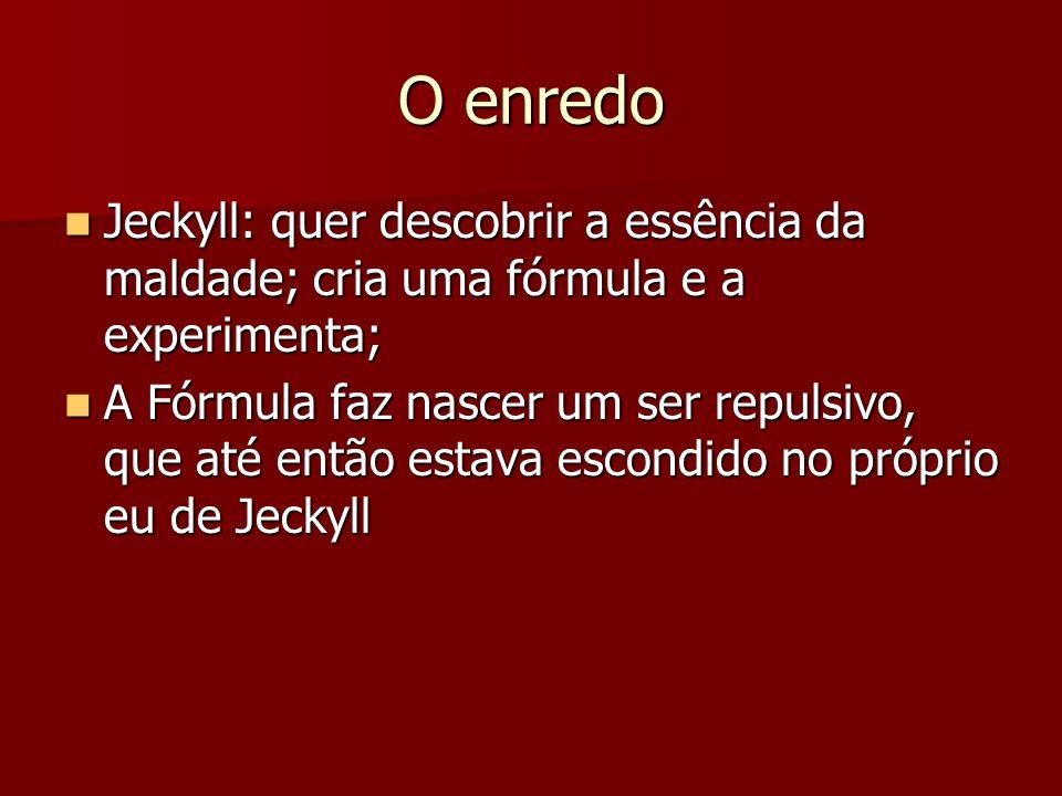 O enredo Jeckyll: quer descobrir a essência da maldade; cria uma fórmula e a experimenta;