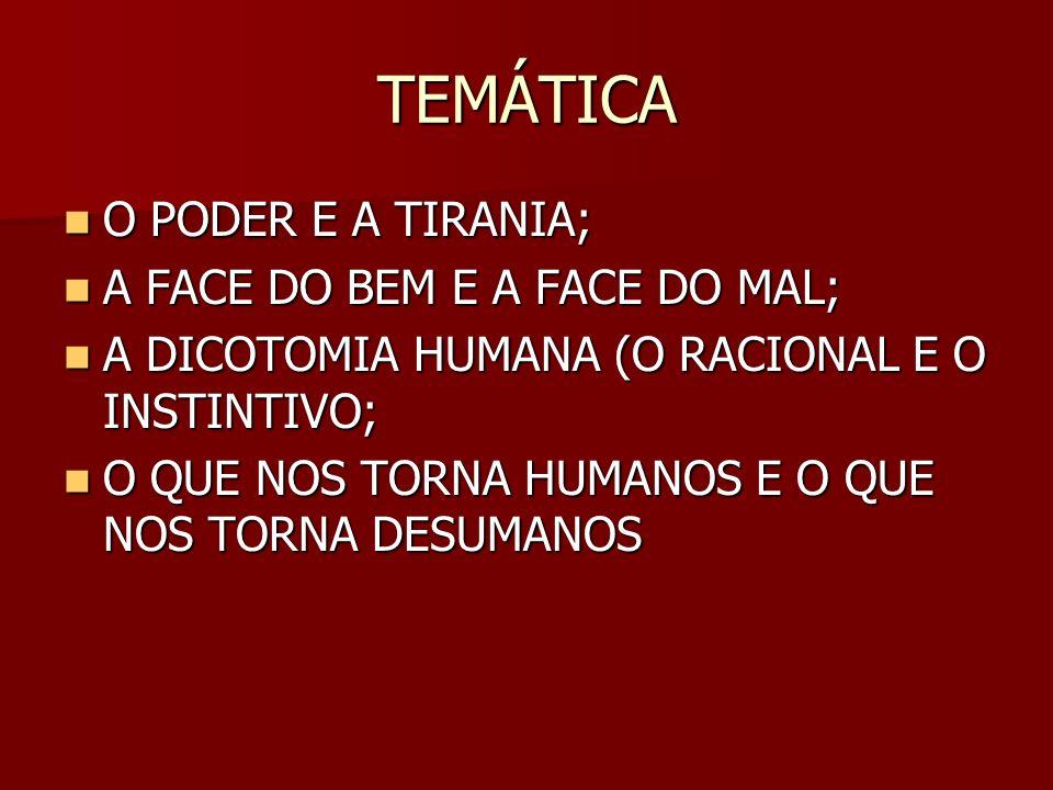TEMÁTICA O PODER E A TIRANIA; A FACE DO BEM E A FACE DO MAL;