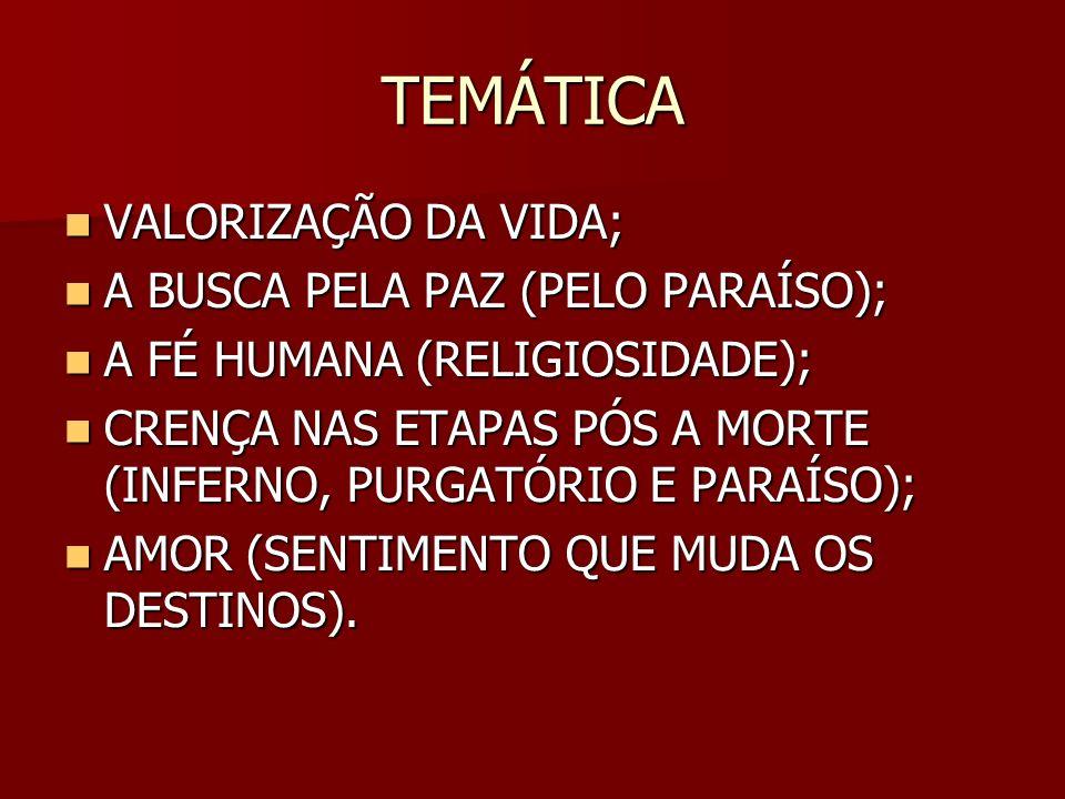 TEMÁTICA VALORIZAÇÃO DA VIDA; A BUSCA PELA PAZ (PELO PARAÍSO);