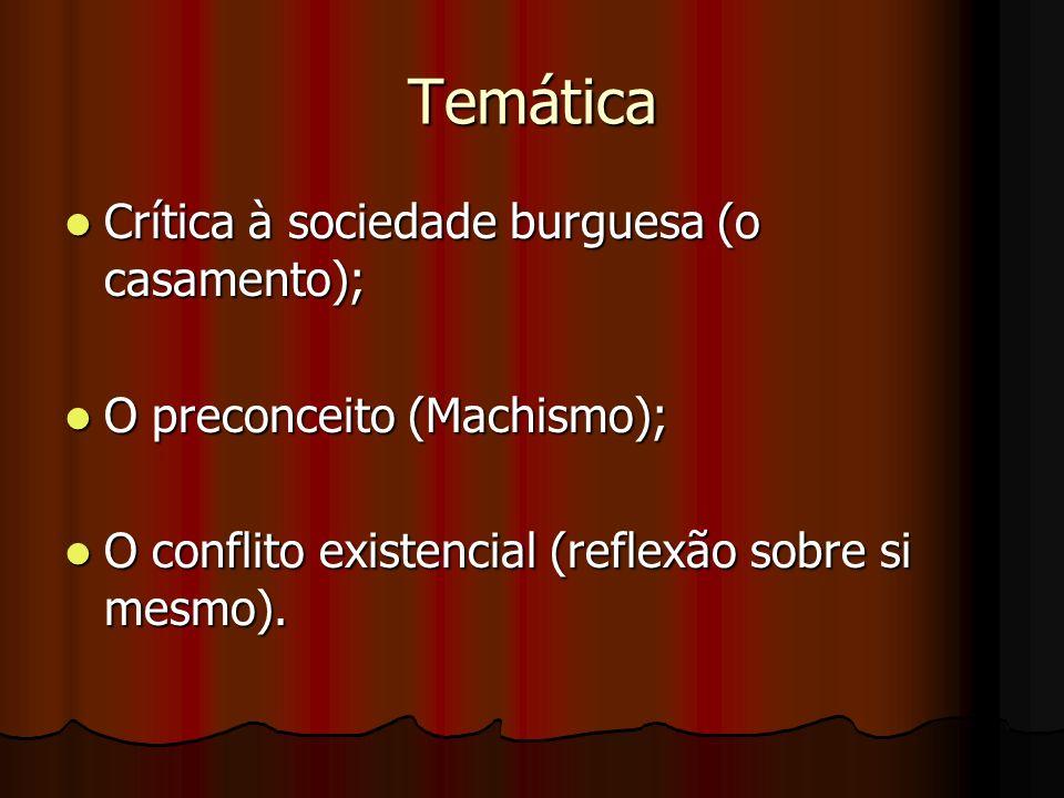 Temática Crítica à sociedade burguesa (o casamento);