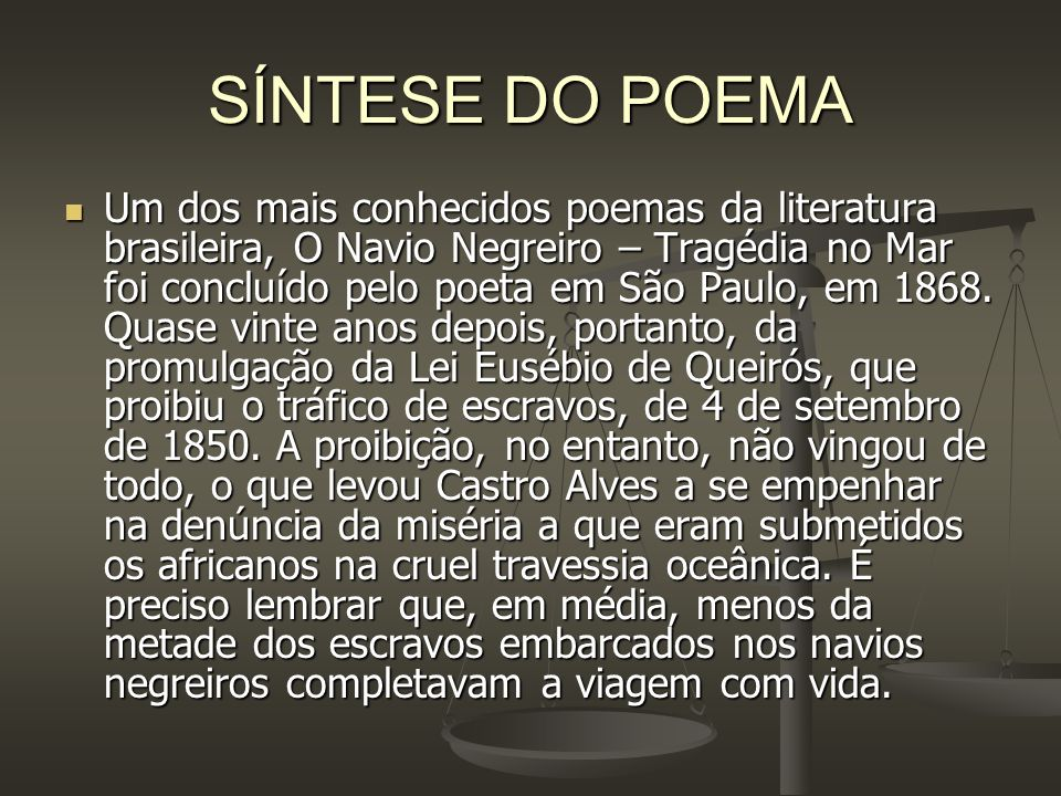 SÍNTESE DO POEMA
