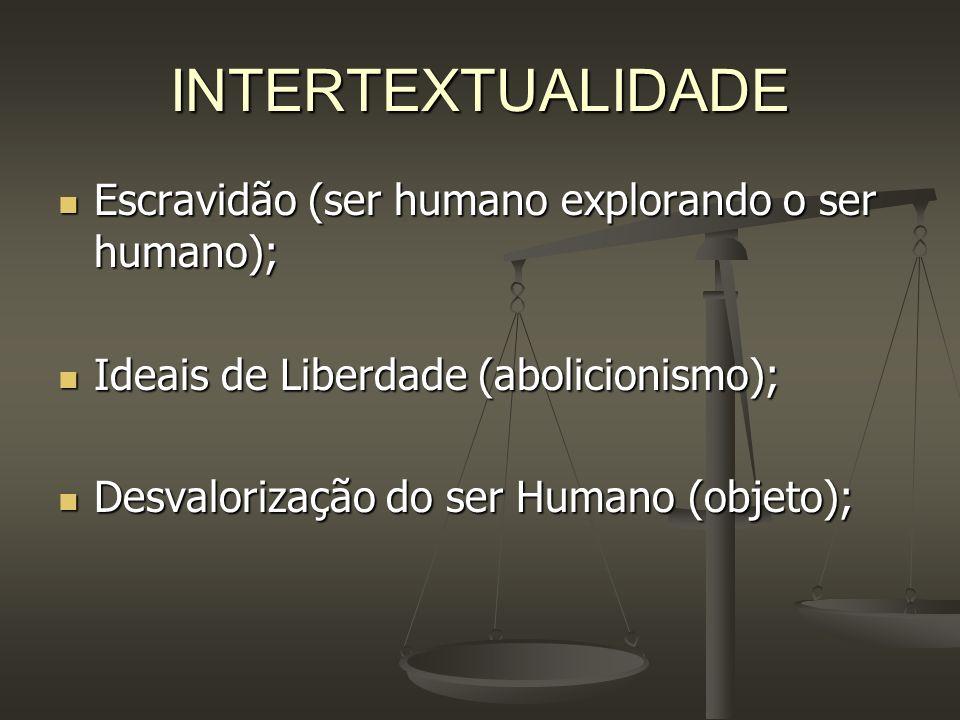 INTERTEXTUALIDADE Escravidão (ser humano explorando o ser humano);