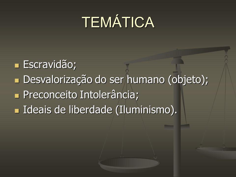 TEMÁTICA Escravidão; Desvalorização do ser humano (objeto);