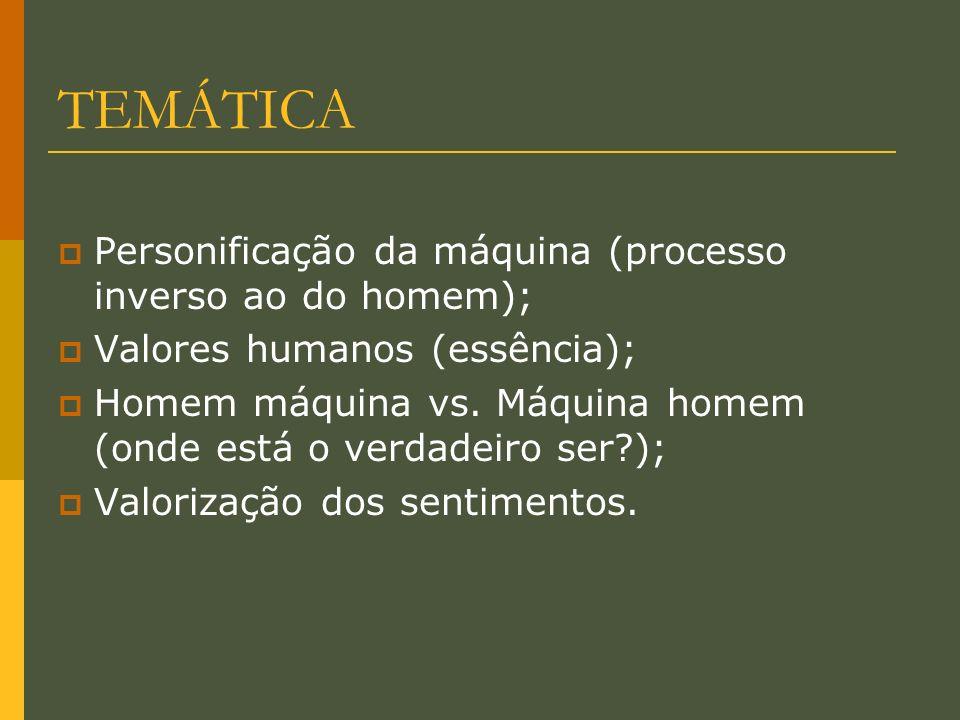 TEMÁTICA Personificação da máquina (processo inverso ao do homem);