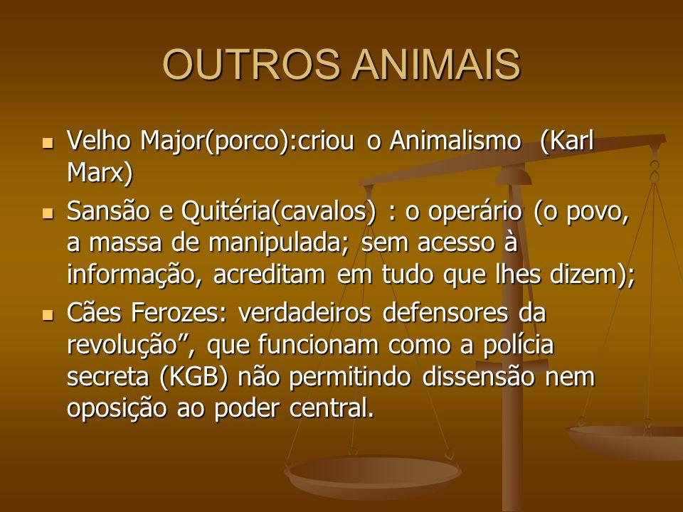 OUTROS ANIMAIS Velho Major(porco):criou o Animalismo (Karl Marx)