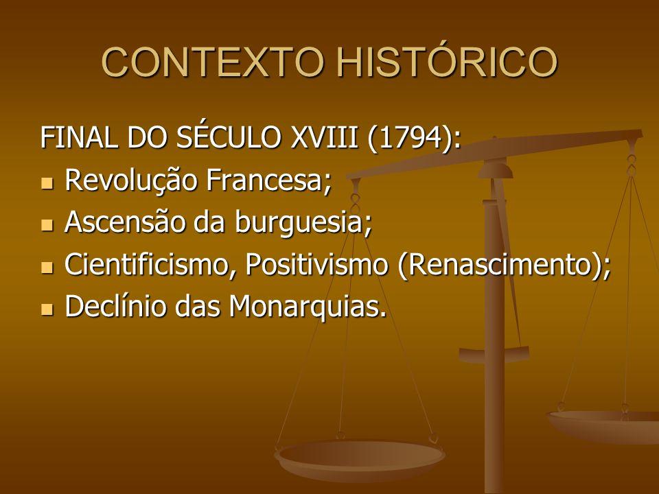 CONTEXTO HISTÓRICO FINAL DO SÉCULO XVIII (1794): Revolução Francesa;