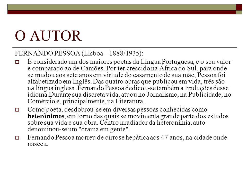 O AUTOR FERNANDO PESSOA (Lisboa – 1888/1935):