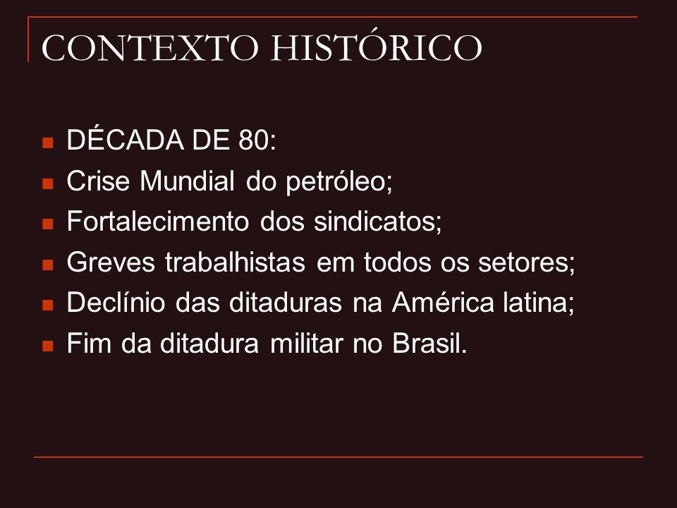 CONTEXTO HISTÓRICO DÉCADA DE 80: Crise Mundial do petróleo;