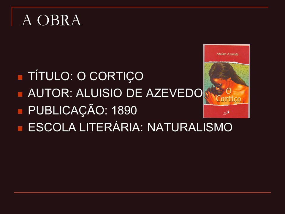 A OBRA TÍTULO: O CORTIÇO AUTOR: ALUISIO DE AZEVEDO PUBLICAÇÃO: 1890
