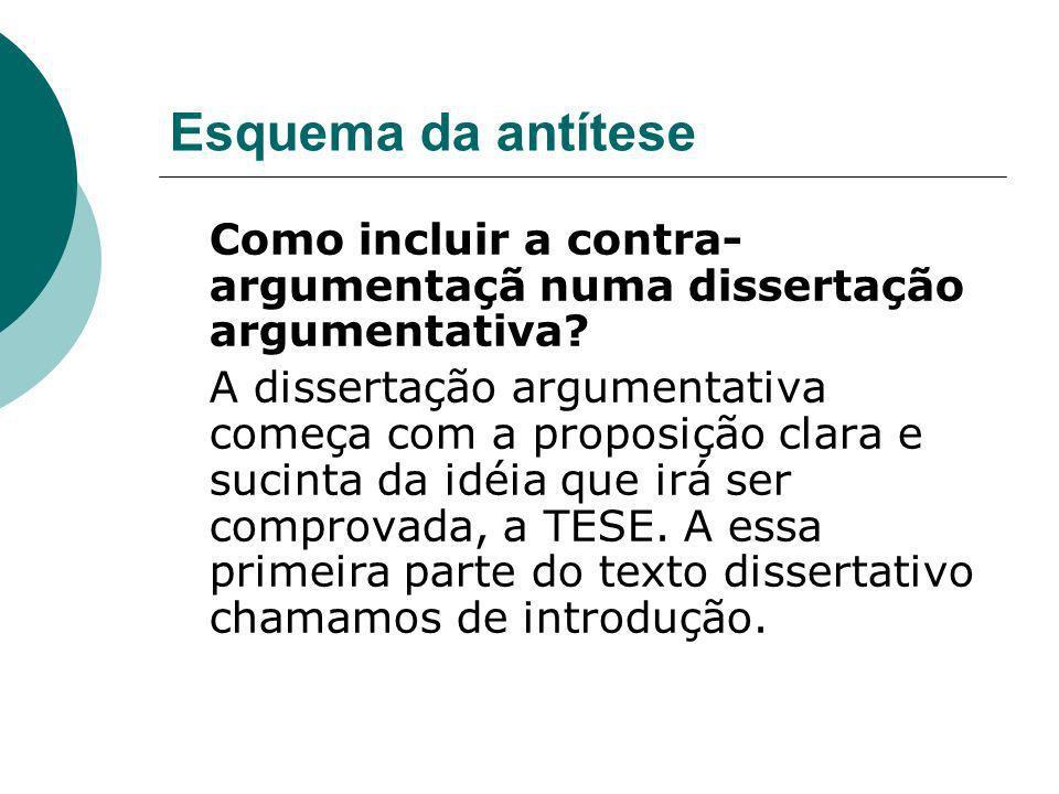 Esquema da antítese Como incluir a contra-argumentaçã numa dissertação argumentativa