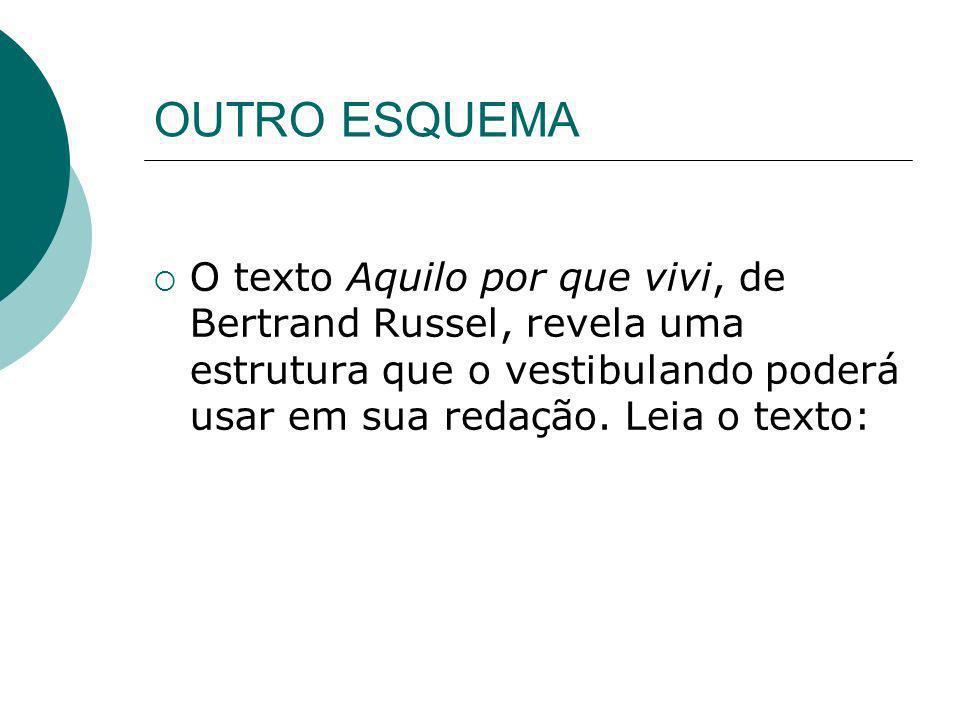 OUTRO ESQUEMA O texto Aquilo por que vivi, de Bertrand Russel, revela uma estrutura que o vestibulando poderá usar em sua redação.