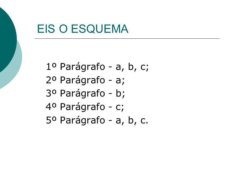 EIS O ESQUEMA 1º Parágrafo - a, b, c; 2º Parágrafo - a;