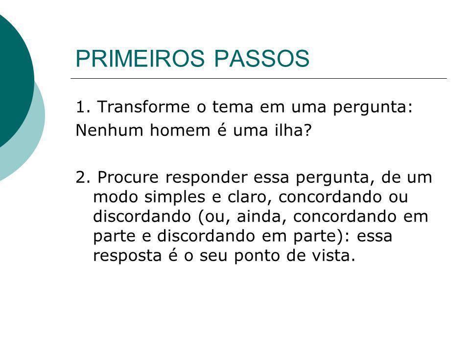 PRIMEIROS PASSOS 1. Transforme o tema em uma pergunta: