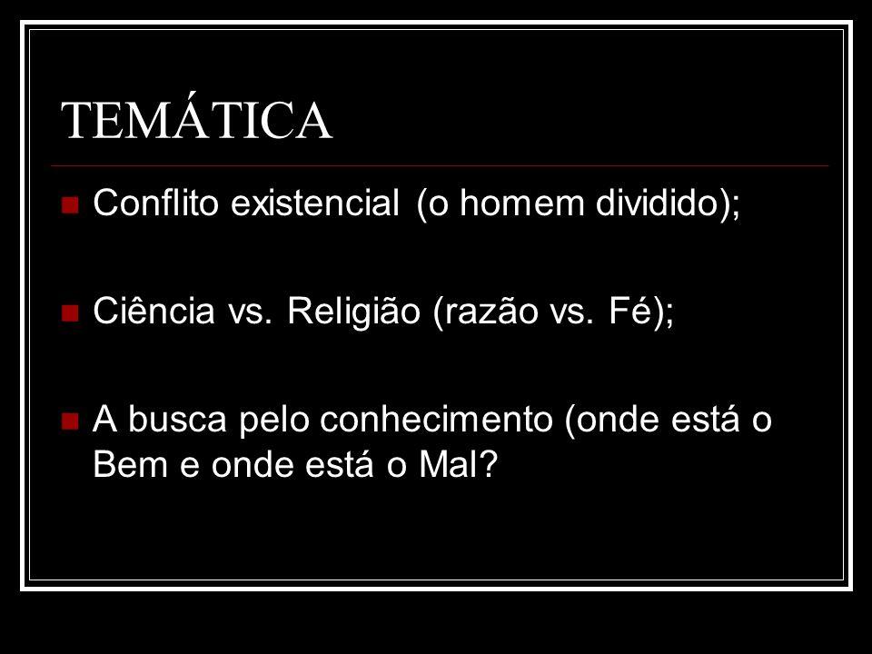 TEMÁTICA Conflito existencial (o homem dividido);