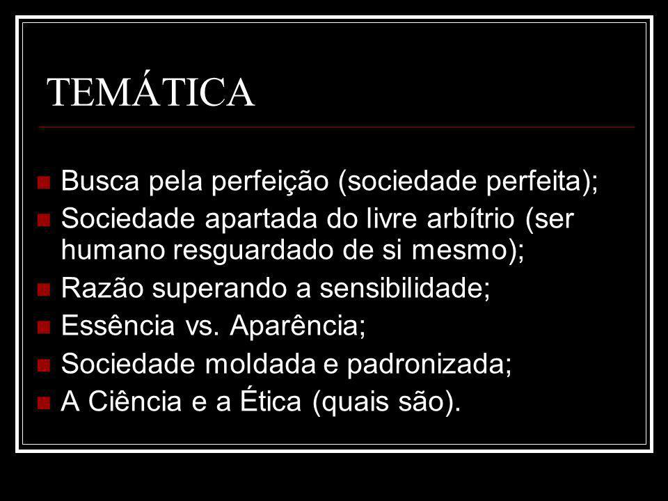 TEMÁTICA Busca pela perfeição (sociedade perfeita);