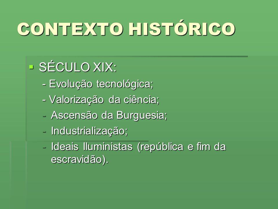 CONTEXTO HISTÓRICO SÉCULO XIX: - Evolução tecnológica;