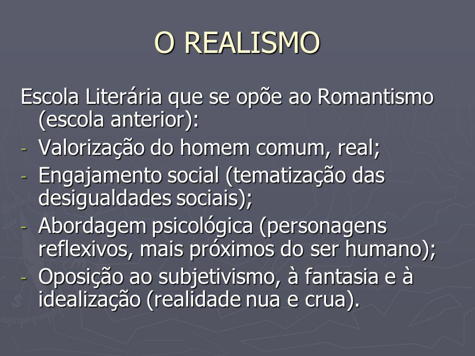 O REALISMO Escola Literária que se opõe ao Romantismo (escola anterior): Valorização do homem comum, real;