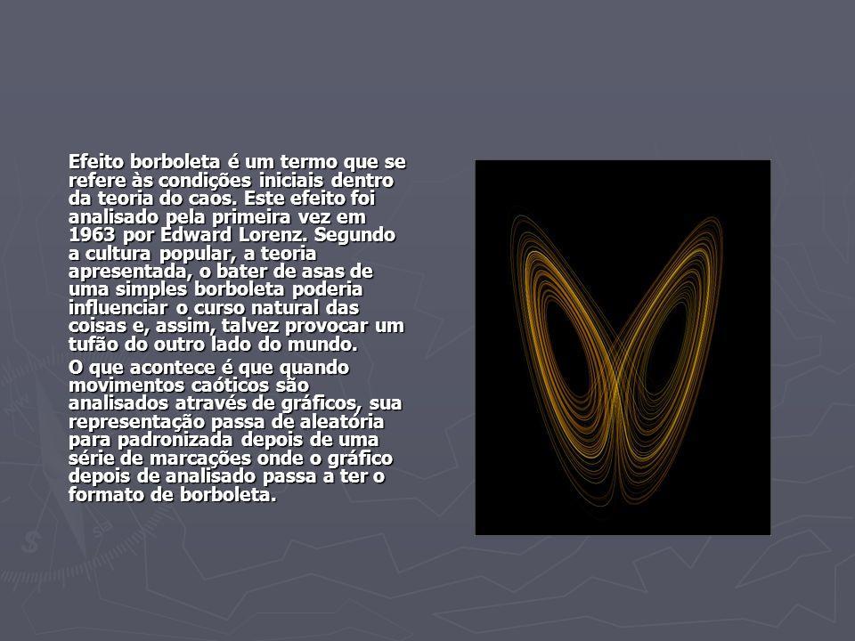 Efeito borboleta é um termo que se refere às condições iniciais dentro da teoria do caos. Este efeito foi analisado pela primeira vez em 1963 por Edward Lorenz. Segundo a cultura popular, a teoria apresentada, o bater de asas de uma simples borboleta poderia influenciar o curso natural das coisas e, assim, talvez provocar um tufão do outro lado do mundo.