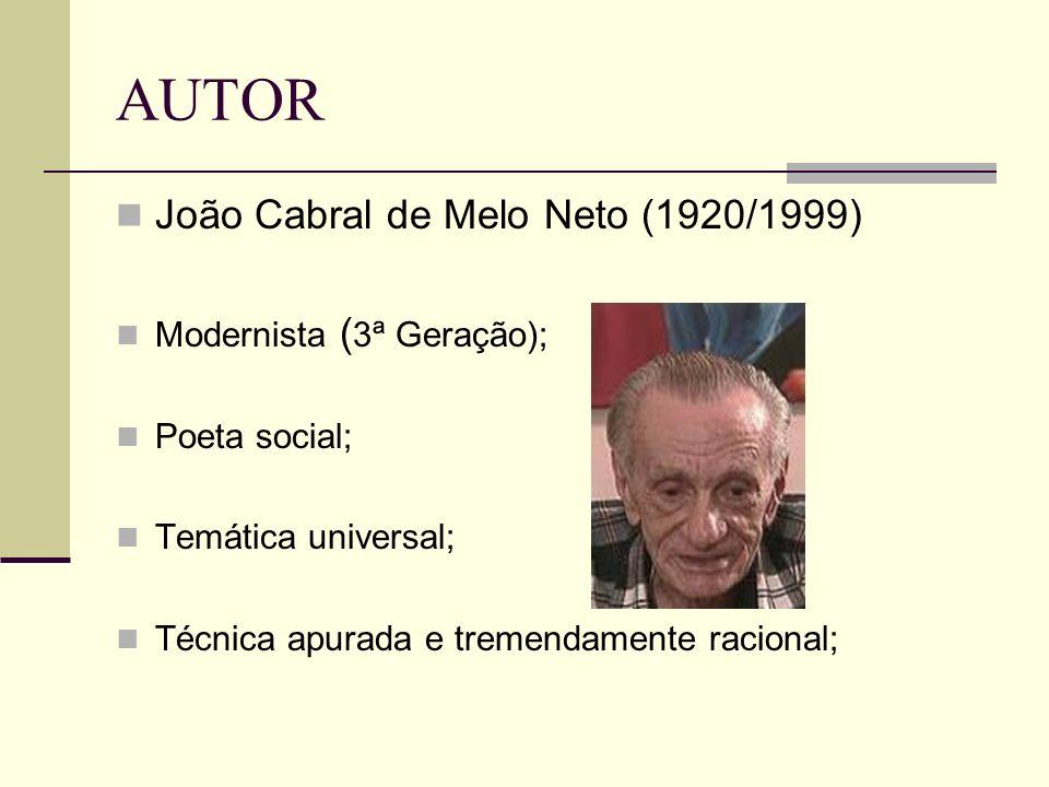 AUTOR João Cabral de Melo Neto (1920/1999) Modernista (3ª Geração);