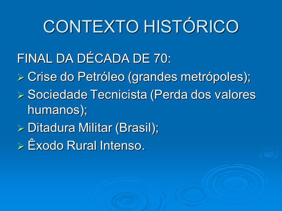 CONTEXTO HISTÓRICO FINAL DA DÉCADA DE 70: