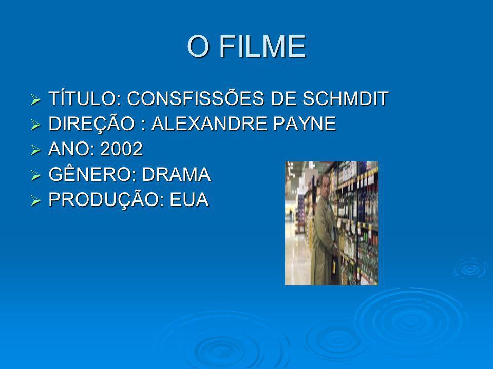 O FILME TÍTULO: CONSFISSÕES DE SCHMDIT DIREÇÃO : ALEXANDRE PAYNE