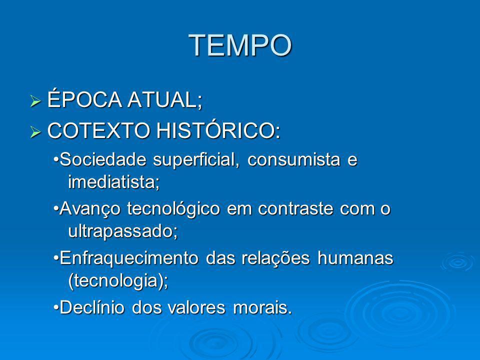 TEMPO ÉPOCA ATUAL; COTEXTO HISTÓRICO: