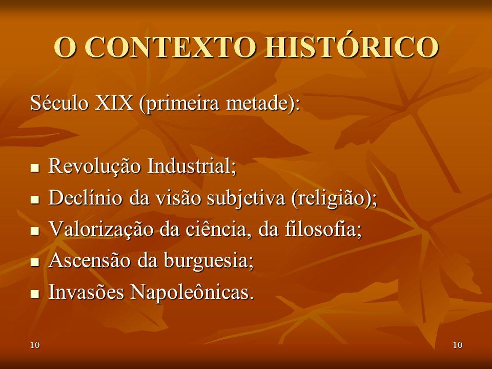 O CONTEXTO HISTÓRICO Século XIX (primeira metade):