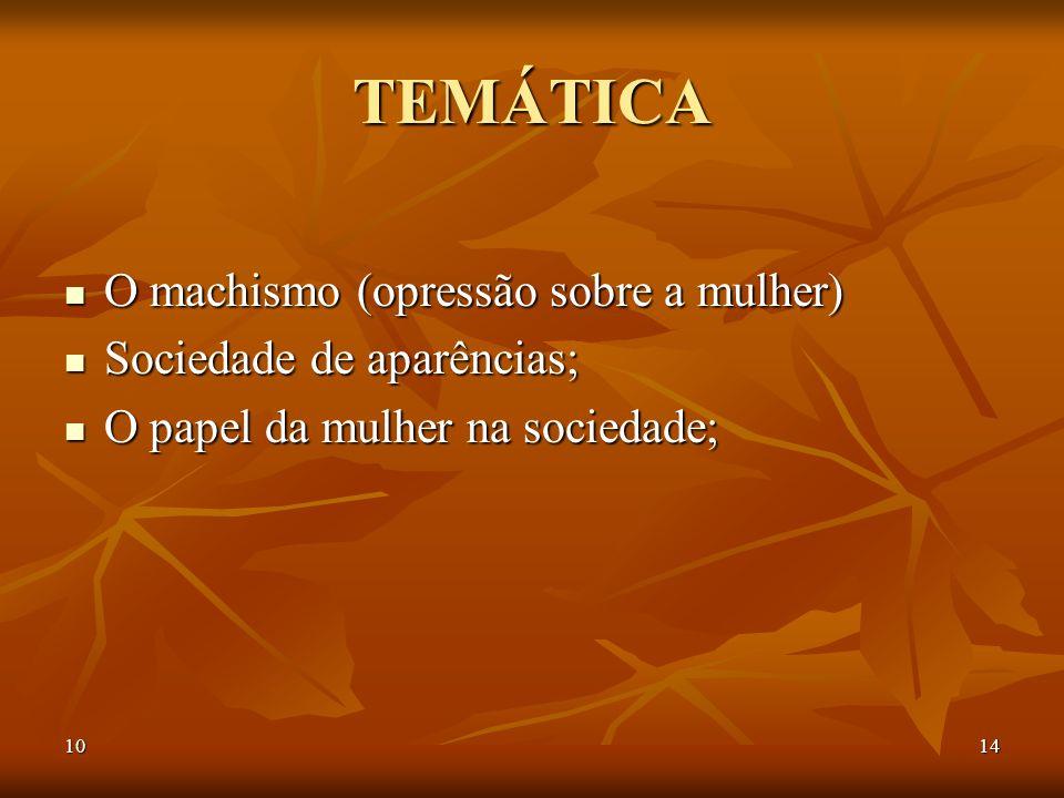 TEMÁTICA O machismo (opressão sobre a mulher) Sociedade de aparências;