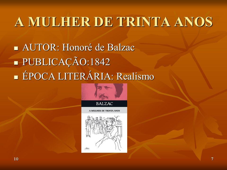 A MULHER DE TRINTA ANOS AUTOR: Honoré de Balzac PUBLICAÇÃO:1842