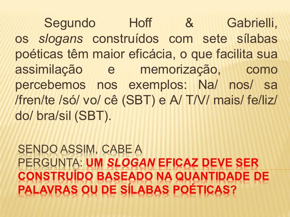 Segundo Hoff & Gabrielli, os slogans construídos com sete sílabas poéticas têm maior eficácia, o que facilita sua assimilação e memorização, como percebemos nos exemplos: Na/ nos/ sa /fren/te /só/ vo/ cê (SBT) e A/ T/V/ mais/ fe/liz/ do/ bra/sil (SBT).