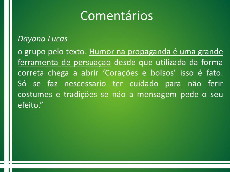 Comentários Dayana Lucas