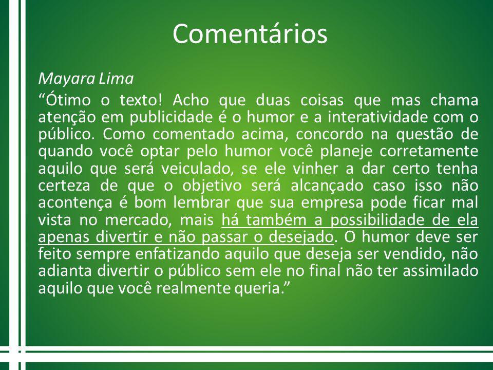 Comentários Mayara Lima