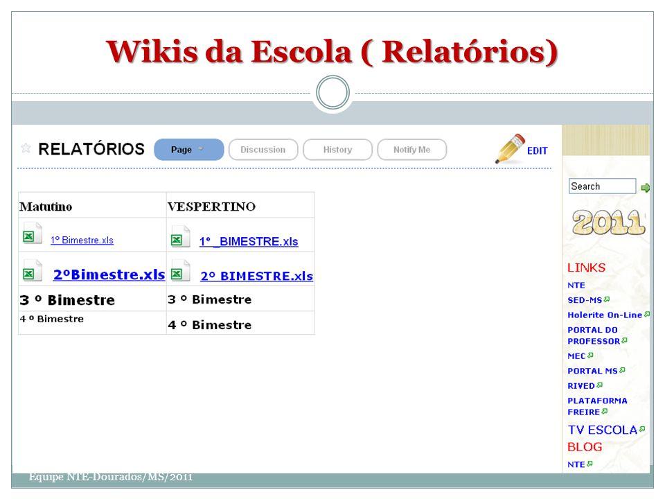 Wikis da Escola ( Relatórios)