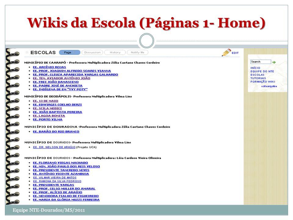 Wikis da Escola (Páginas 1- Home)