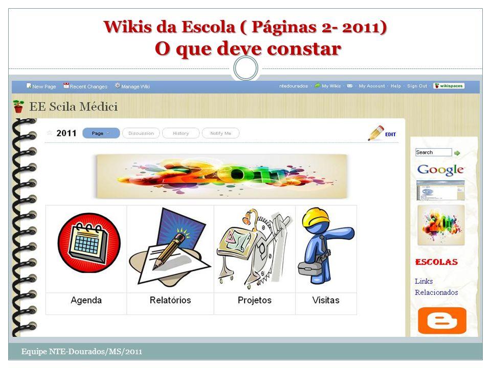 Wikis da Escola ( Páginas 2- 2011) O que deve constar