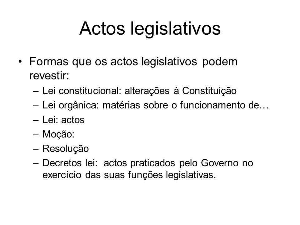 Actos legislativos Formas que os actos legislativos podem revestir: