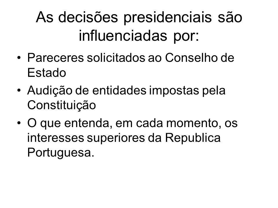 As decisões presidenciais são influenciadas por: