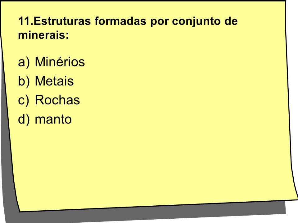 11.Estruturas formadas por conjunto de minerais:
