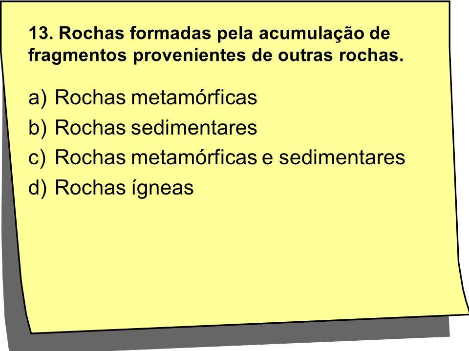 Rochas metamórficas e sedimentares Rochas ígneas