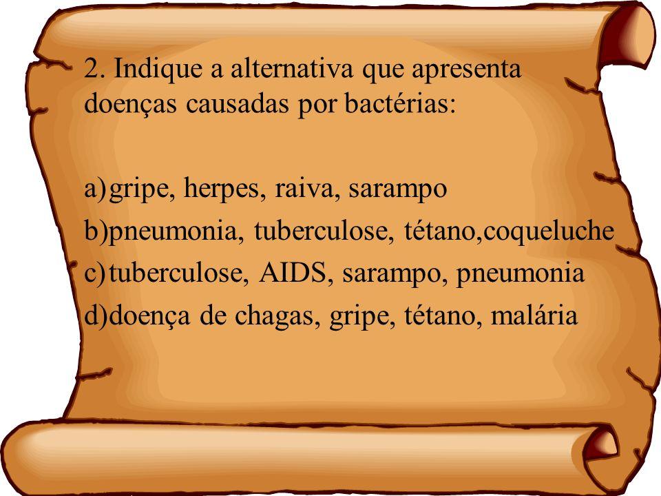 2. Indique a alternativa que apresenta doenças causadas por bactérias: