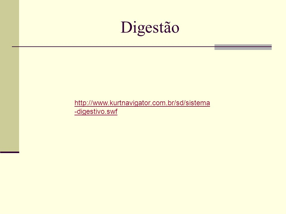 Digestão http://www.kurtnavigator.com.br/sd/sistema-digestivo.swf