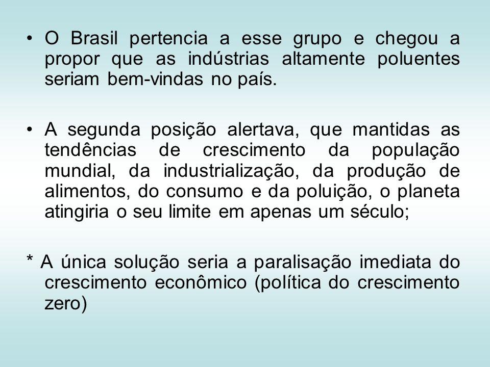 O Brasil pertencia a esse grupo e chegou a propor que as indústrias altamente poluentes seriam bem-vindas no país.
