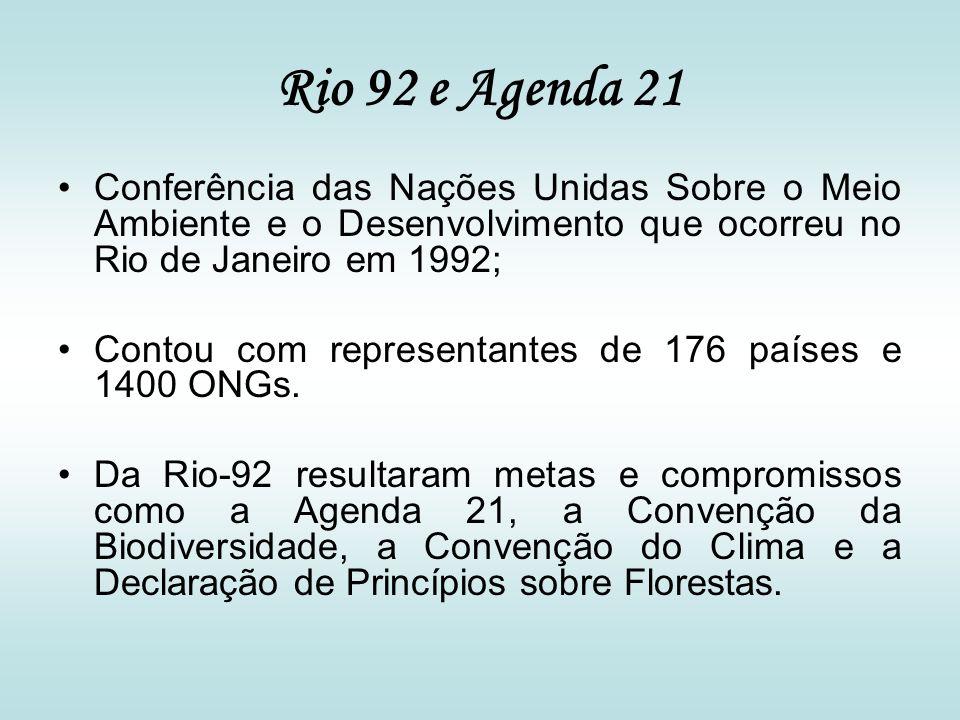Rio 92 e Agenda 21 Conferência das Nações Unidas Sobre o Meio Ambiente e o Desenvolvimento que ocorreu no Rio de Janeiro em 1992;