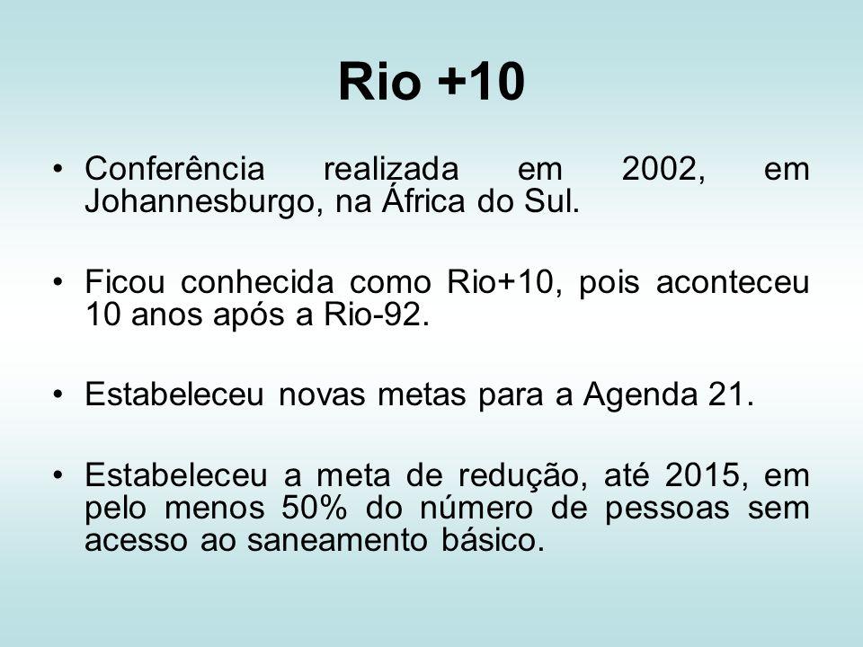 Rio +10 Conferência realizada em 2002, em Johannesburgo, na África do Sul. Ficou conhecida como Rio+10, pois aconteceu 10 anos após a Rio-92.