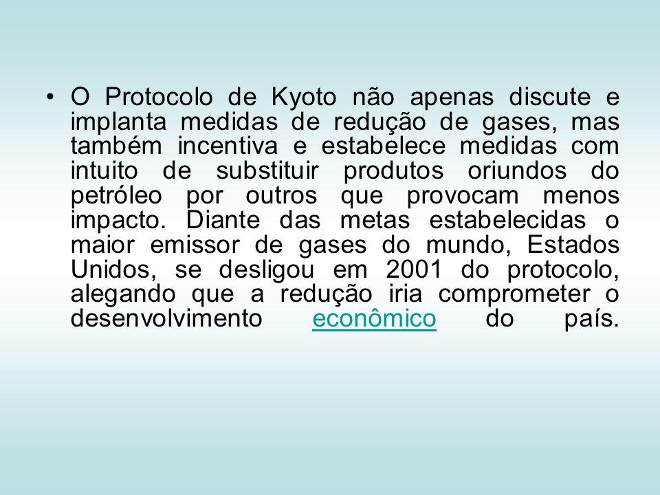 O Protocolo de Kyoto não apenas discute e implanta medidas de redução de gases, mas também incentiva e estabelece medidas com intuito de substituir produtos oriundos do petróleo por outros que provocam menos impacto.